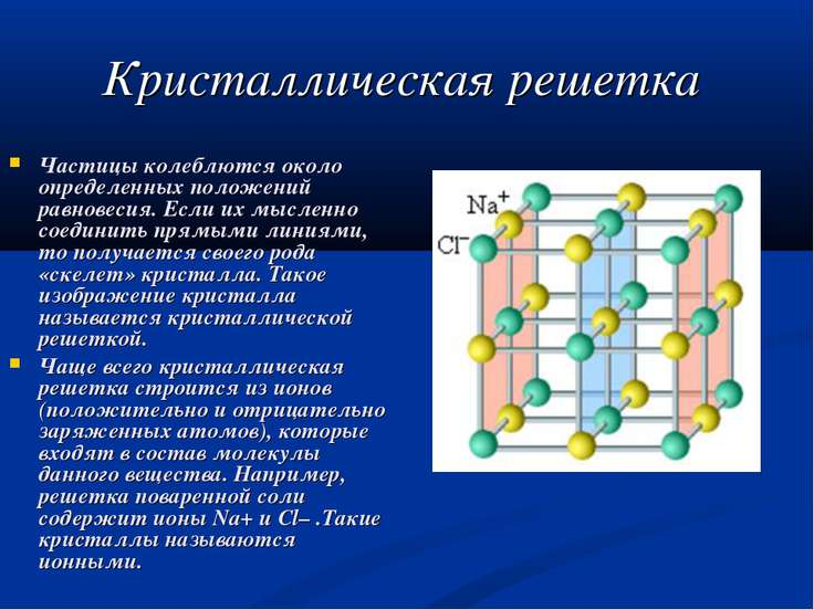 Кристаллическая решетка Частицы колеблются около определенных положений равно...