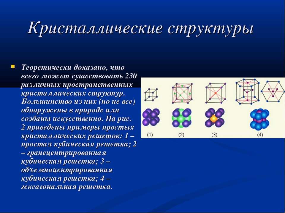 Кристаллические структуры Теоретически доказано, что всего может существовать...