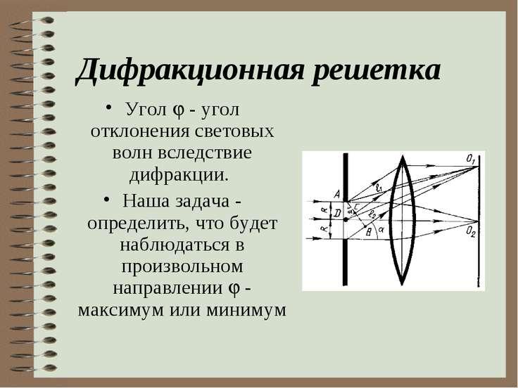 Дифракционная решетка Угол - угол отклонения световых волн вследствие дифракц...