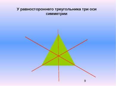 У равностороннего треугольника три оси симметрии