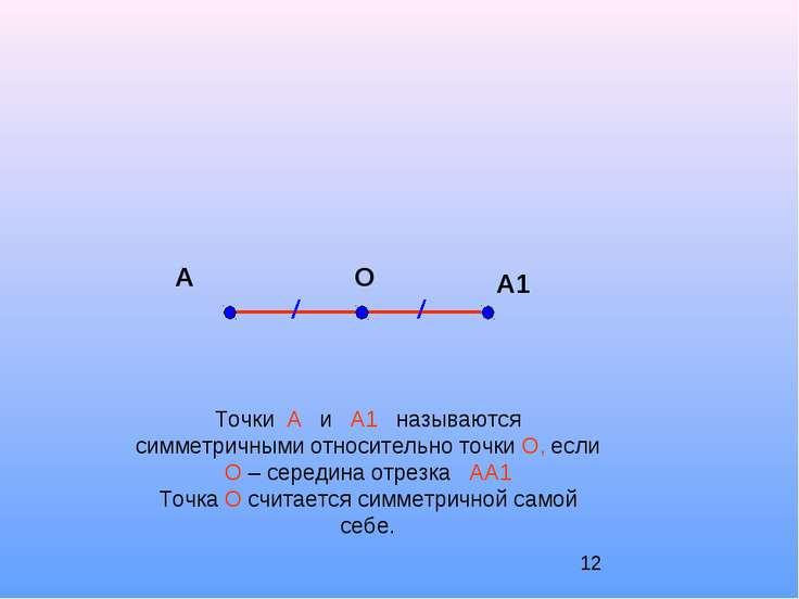А А1 О Точки А и А1 называются симметричными относительно точки О, если О – с...