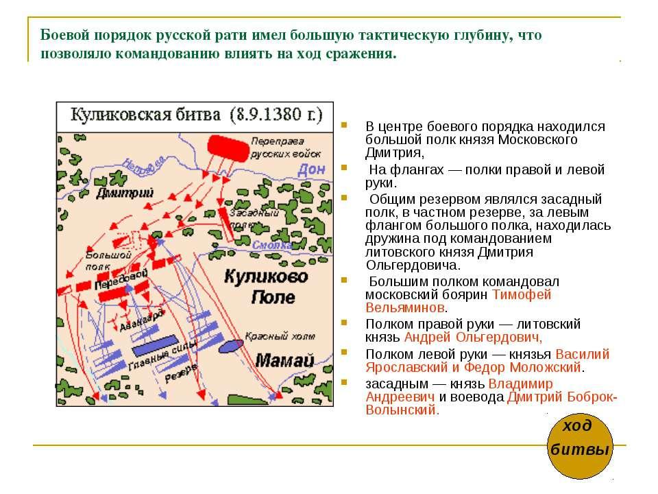 Боевой порядок русской рати имел большую тактическую глубину, что позволяло к...