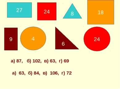 а) 87, б) 102, в) 63, г) 69 а) 63, б) 84, в) 106, г) 72 24 8 27 9 4 18 24 6