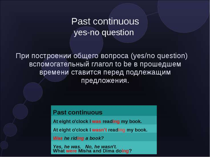 Past continuous yes-no question При построении общего вопроса (yes/no questio...