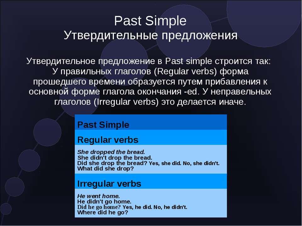 Past Simple Утвердительные предложения Утвердительное предложение в Past simp...
