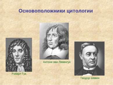 Основоположники цитологии Роберт Гук Антони ван Левенгук Теодор Шванн