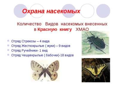 Охрана насекомых Количество Видов насекомых внесенных в Красную книгу ХМАО От...