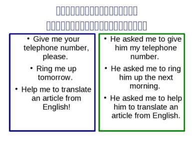 Indirect Speech. Imperative Sentences He asked me to give him my telephone nu...