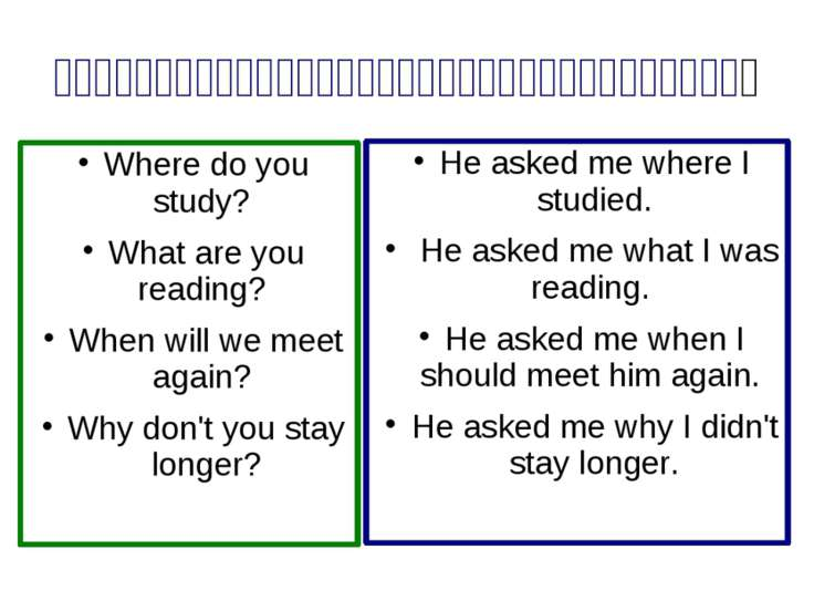 Indirect Speech. Special Questions Where do you study? What are you reading? ...