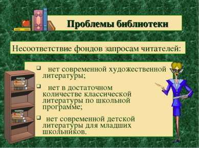 Проблемы библиотеки нет современной художественной литературы; нет в достаточ...
