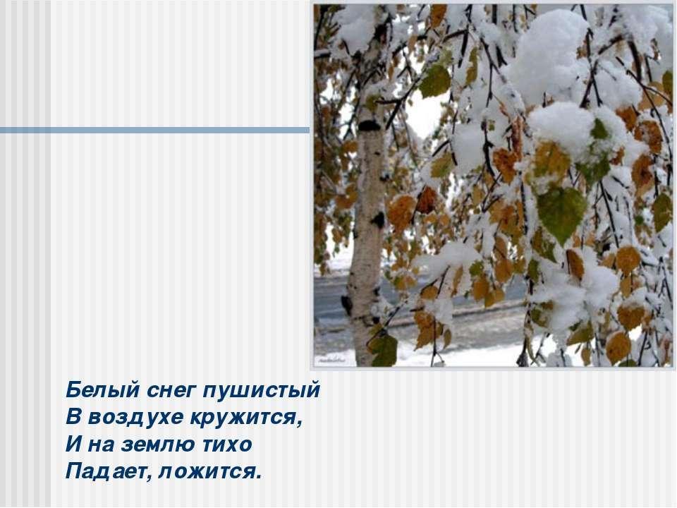 Белый снег пушистый В воздухе кружится, И на землю тихо Падает, ложится.