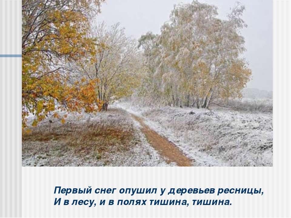 Первый снег опушил у деревьев ресницы, И в лесу, и в полях тишина, тишина.