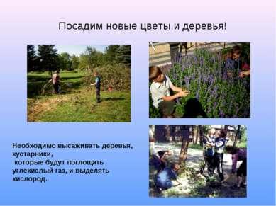 Посадим новые цветы и деревья! Необходимо высаживать деревья, кустарники, кот...