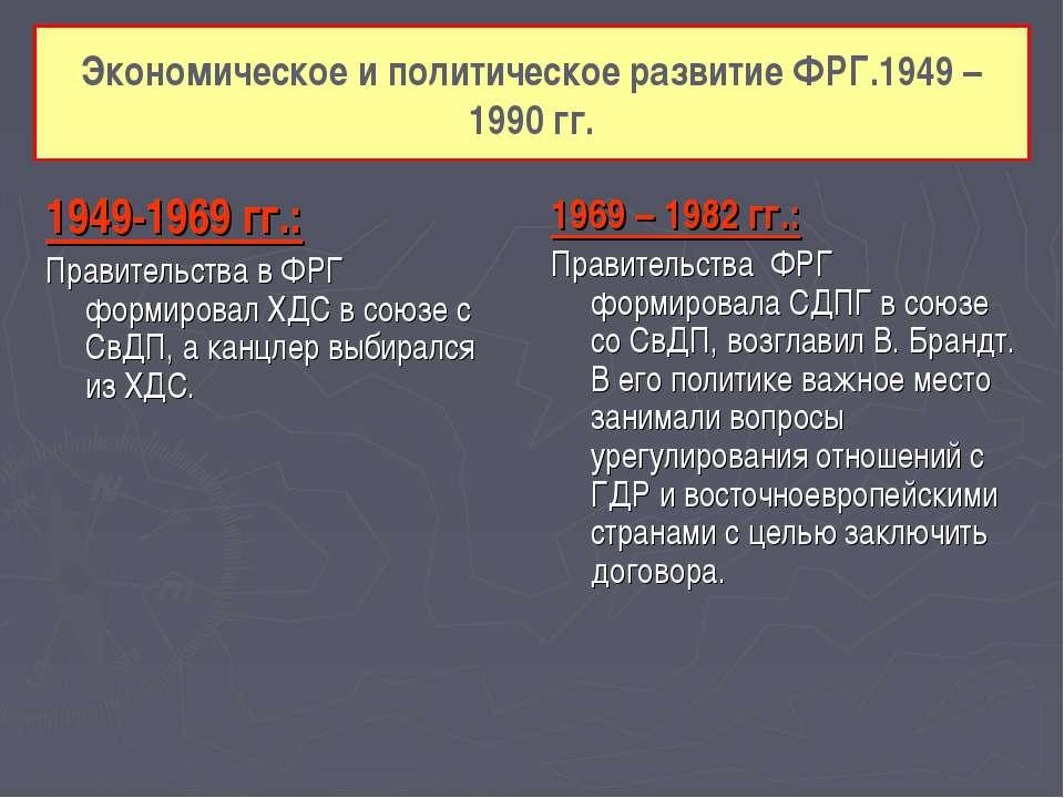 Экономическое и политическое развитие ФРГ.1949 – 1990 гг. 1949-1969 гг.: Прав...