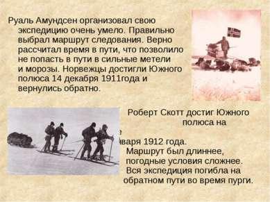 Руаль Амундсен организовал свою экспедицию очень умело. Правильно выбрал марш...