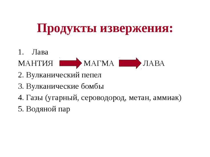 Продукты извержения: Лава МАНТИЯ МАГМА ЛАВА 2. Вулканический пепел 3. Вулкани...