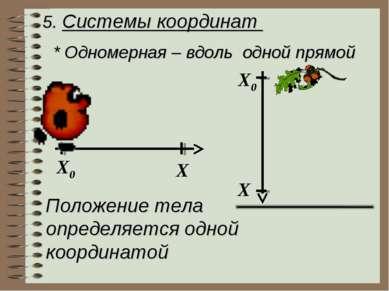 5. Системы координат * Одномерная – вдоль одной прямой X0 X X0 X Положение те...