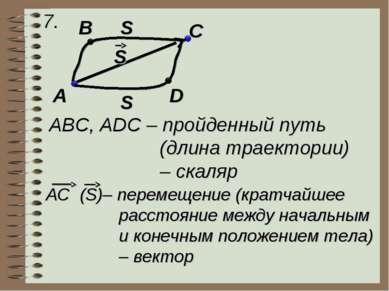 7. A B C D S S S ABC, ADC – пройденный путь (длина траектории) – скаляр AC (S...