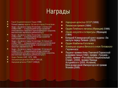 Награды Герой Социалистического Труда (1985) Полный кавалер ордена «За заслуг...