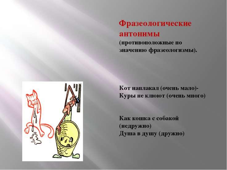 Фразеологические антонимы (противоположные по значению фразеологизмы). Кот на...