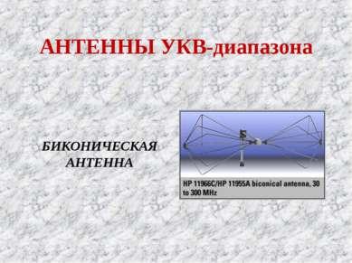 АНТЕННЫ УКВ-диапазона БИКОНИЧЕСКАЯ АНТЕННА