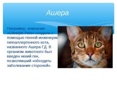 Например, компания «Lifestyle Pets» создала с помощью генной инженерии гипоал...