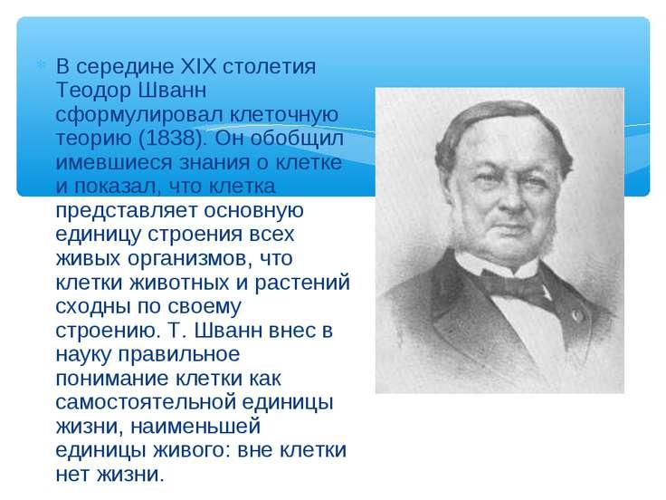 В серединеXIXстолетия Теодор Шванн сформулировал клеточную теорию (1838). О...