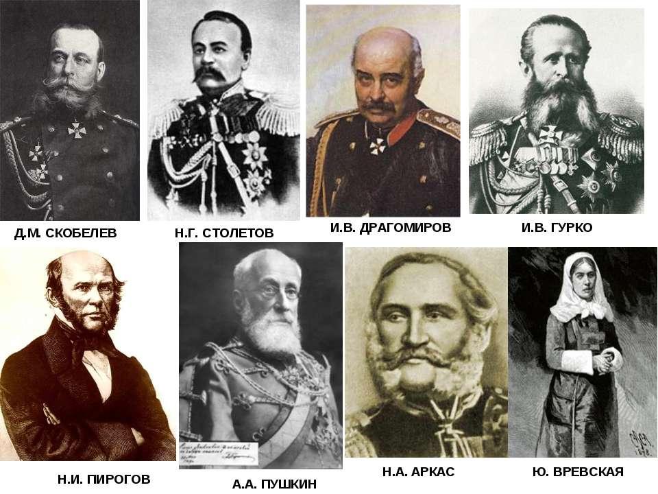 Д.М. СКОБЕЛЕВ Н.Г. СТОЛЕТОВ И.В. ДРАГОМИРОВ И.В. ГУРКО Н.И. ПИРОГОВ А.А. ПУШК...