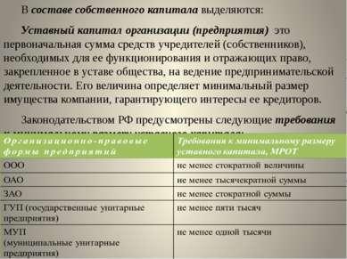 В составе собственного капитала выделяются: Уставный капитал организации (пре...