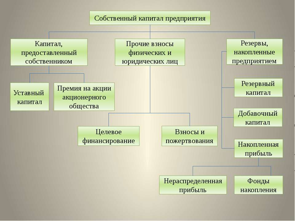 Собственный капитал предприятия Капитал, предоставленный собственником Прочие...