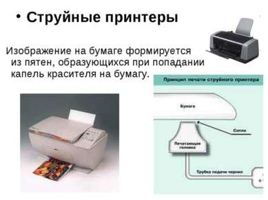 Струйные принтеры Изображение на бумаге формируется изпятен, образующихся пр...