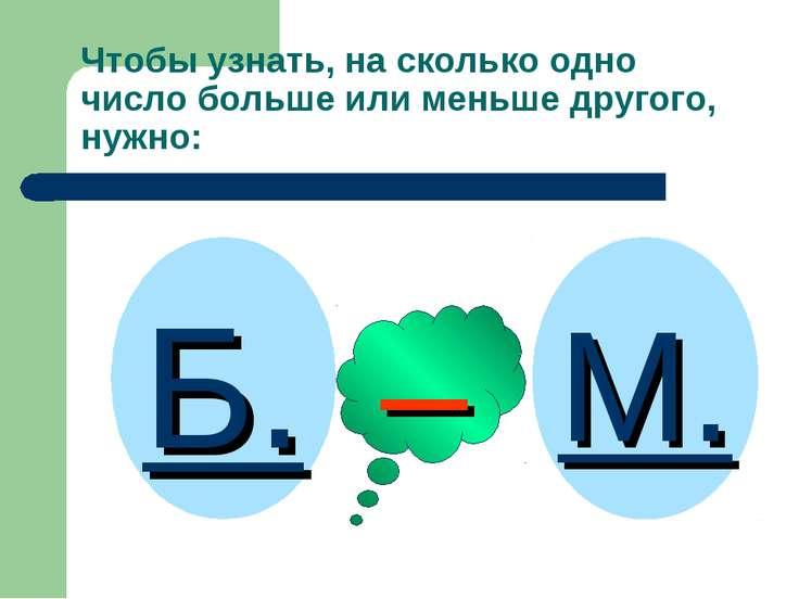 Чтобы узнать, на сколько одно число больше или меньше другого, нужно: Б. М. –