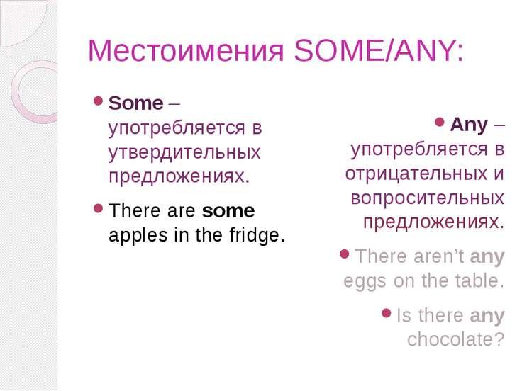 Местоимения SOME/ANY: Some – употребляется в утвердительных предложениях. The...