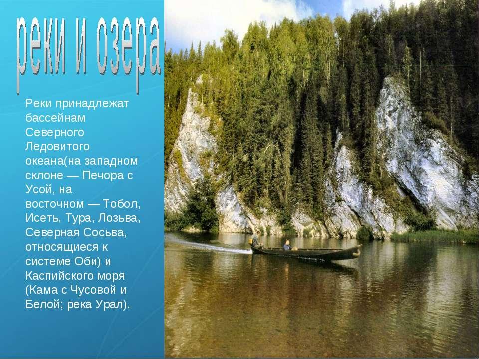 Реки принадлежат бассейнам Северного Ледовитого океана(на западном склоне— П...