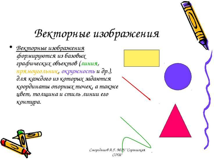 Векторные изображения Векторные изображения формируются из базовых графически...