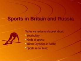 Sports in Britain and Russia