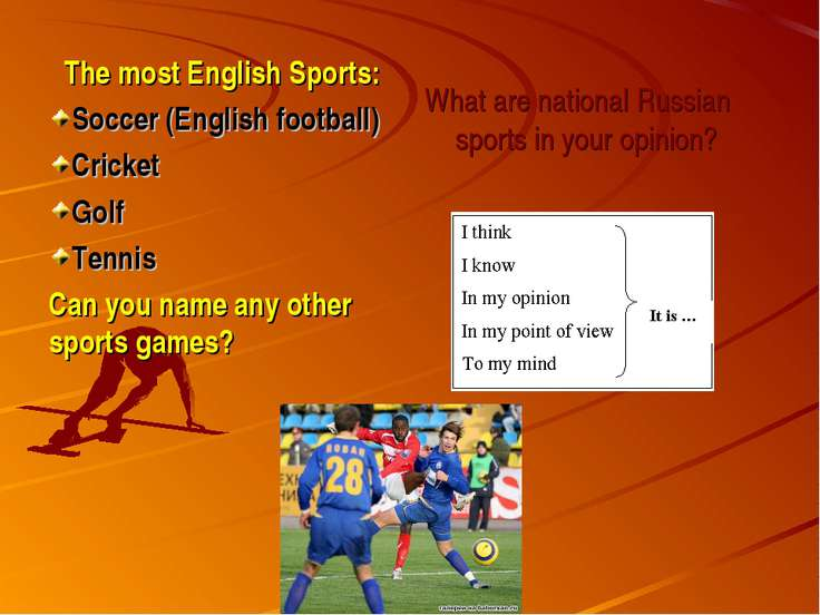The most English Sports: Soccer (English football) Cricket Golf Tennis Can yo...
