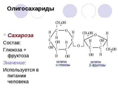 Олигосахариды Сахароза Состав: Глюкоза + фруктоза Значение: Используется в пи...
