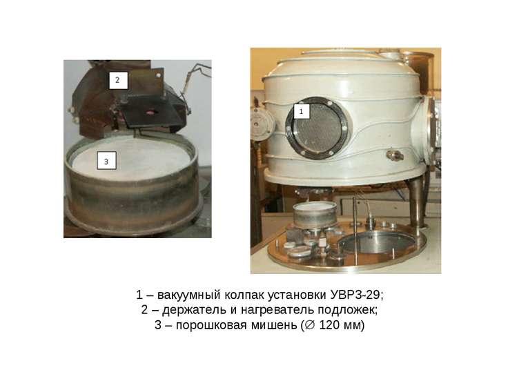 1 – вакуумный колпак установки УВР3-29; 2 – держатель и нагреватель подложек;...
