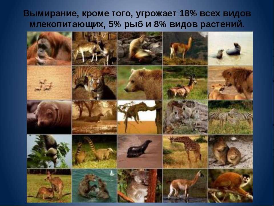 Вымирание, кроме того, угрожает 18% всех видов млекопитающих, 5% рыб и 8% вид...