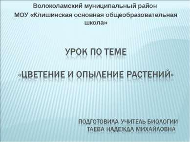 Волоколамский муниципальный район МОУ «Клишинская основная общеобразовательна...