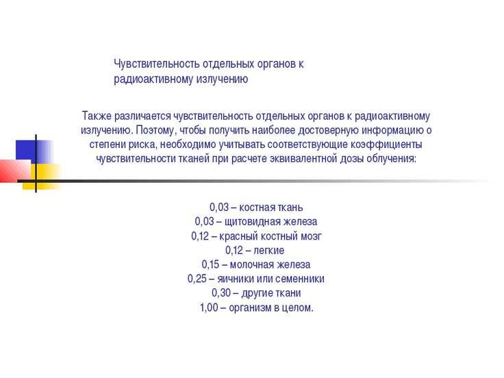 Чувствительность отдельных органов к радиоактивному излучению Также различает...