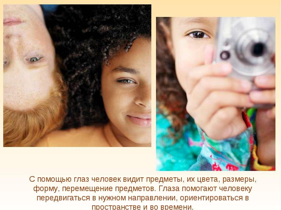 С помощью глаз человек видит предметы, их цвета, размеры, форму, перемещение ...