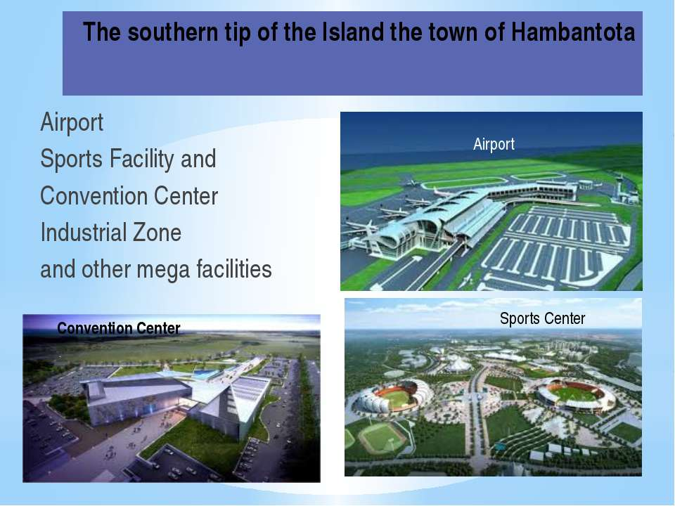 The southern tip of the Island the town of Hambantota Airport Sports Facility...