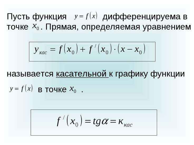 Пусть функция дифференцируема в точке . Прямая, определяемая уравнением назыв...