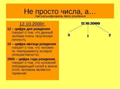 Не просто числа, а… 12.10.2000г. 12 – цифра дня рождения, говорит о том, что ...