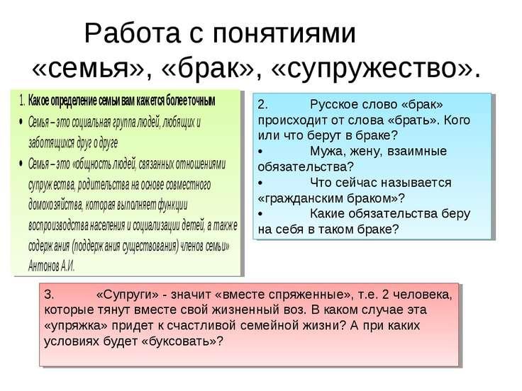 Работа с понятиями «семья», «брак», «супружество». 2. Русское слово «брак» пр...