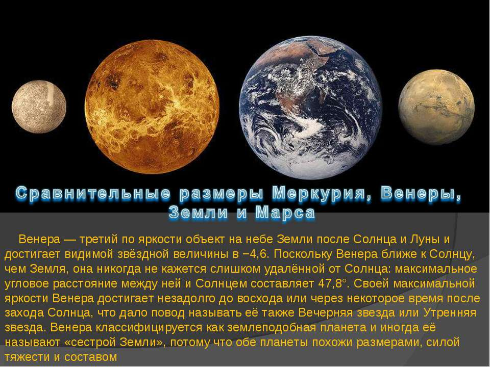 Венера — третий по яркости объект на небе Земли после Солнца и Луны и достига...