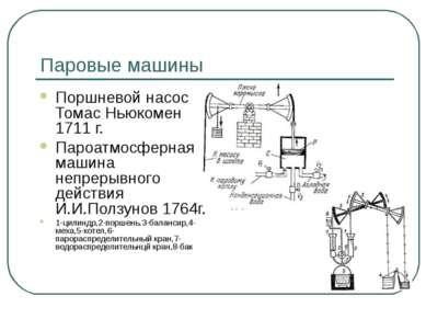 Паровые машины Поршневой насос Томас Ньюкомен 1711 г. Пароатмосферная машина ...