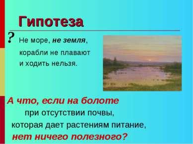Гипотеза ? Не море, не земля, корабли не плавают и ходить нельзя. А что, если...